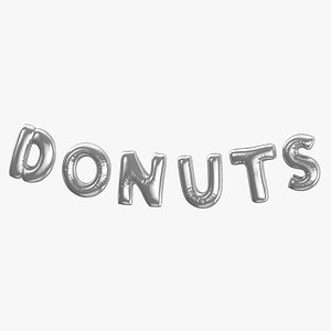 3D Foil Baloon Words Donuts Silver