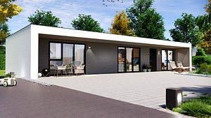 modern house on 75m2 TARA 75 Low-poly 3D model