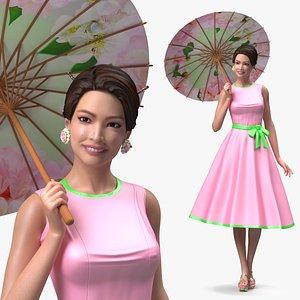Asian Women Wear Summer Fashion Dress 3D model