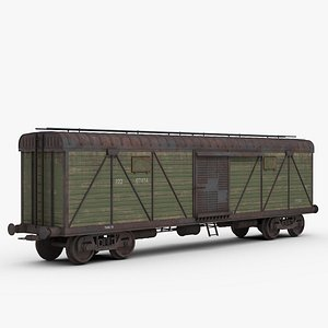 3D Railroad Covered Freight Wagon