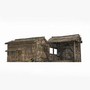 3D ancient wooden farmhouse model