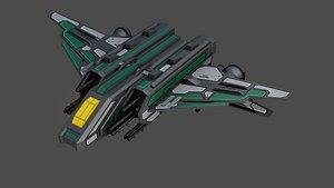 sci-fi fighter ship space 3D model