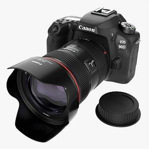 Canon EOS 90D DSLR camera EF 24-70mm f2.8L II USM Lens 03 3D
