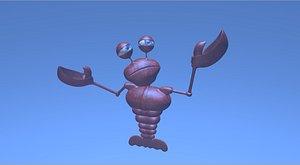 Lobster cartoon rigged 3D model