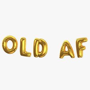 Foil Baloon Words Old Af Gold 3D model