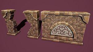 Fantasy wall 2 3D model