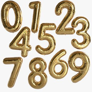 3D balloon foil numbers model