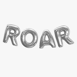 Foil Balloon Words Roar Silver 3D model