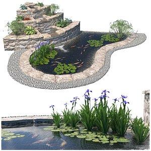 garden water waterfall 3D model