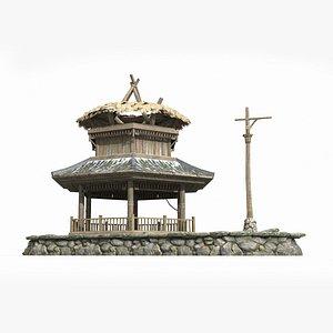 ancient thatched summerhouse 3D model