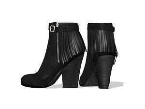 3D Suede Ankle Mid Heel Black Boots model