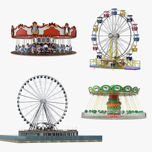 Rigged Amusement Park Rides Collection 3D model