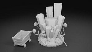 3D model cave crystal printed cluster