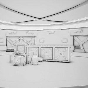 3D model Sci-fi Corridor 03 Clay