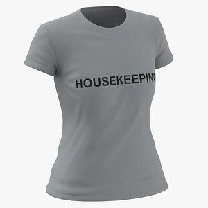 3D Female Crew Neck Worn Gray Housekeeping 01(1) model