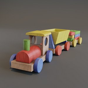Wooden Train - Toy 3D