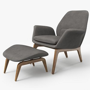 3D Lounge Chair Oak Velvet - PBR