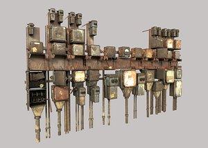3D model abandoned fuseboxes