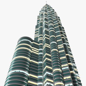 3D Skyscraper Tower Night Glow model
