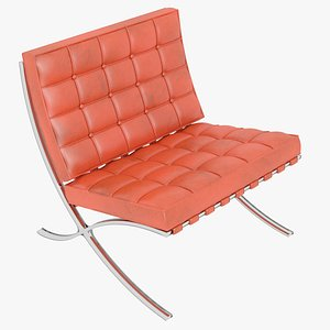 3D model Knoll Orange Leather Barcelona Chair