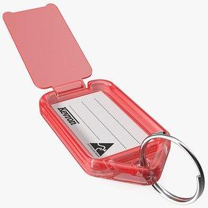 3D Kevron Clear Plastic Key Tag Red