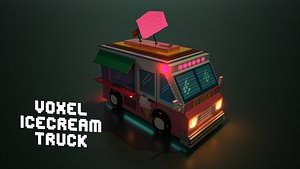 Voxel ice cream truck 3D model
