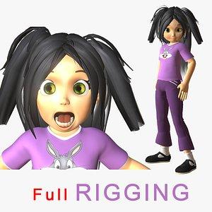 3D young girl cartoon