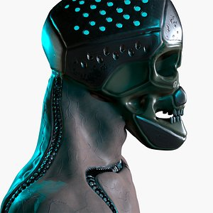 Armor steel skull of terminator 3D model