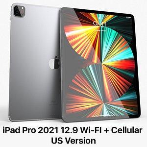 3D Apple iPad Pro 12-9 Cellular 2021 US model
