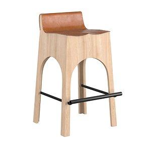 3D jack leather wood stool