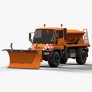 3D model snowplow truck mercedes unimog