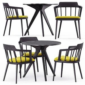 3D Tiara chair and Torsa table