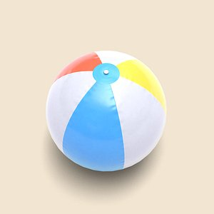 3D low-poly beach ball