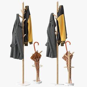 3D Grace Mango Wood  Marble Coat Rack
