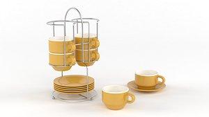 Porcelain Cups Set 3D model