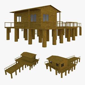 3D model wood wooden shed