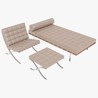 Knoll Beige Leather Barcelona Chair Couch and Stool Ottoman Set