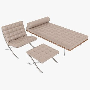 Knoll Beige Leather Barcelona Chair Couch and Stool Ottoman Set 3D model