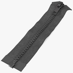 Two Sided Plastic Zipper Closed Black 3D model