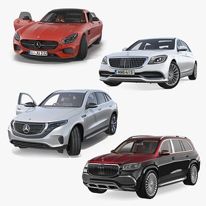 3D model Mercedes Benz Cars Rigged Collection
