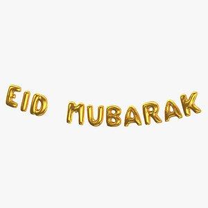 Foil Baloon Words Eid Mubarak Gold 3D