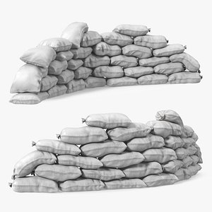 Semicircle Polypropylene Sandbag Barricade 3D model