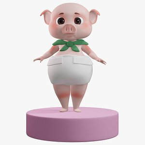 3D Baby Pig with Scarf 3D Rigged
