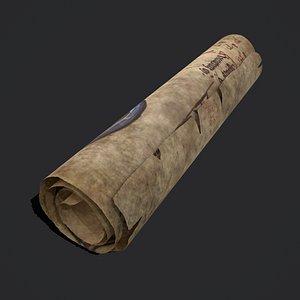 January Manuscript Scroll 3D model