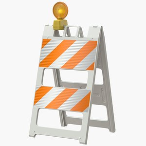 roadworks barricade warning light 3D model