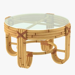Round Bamboo Coffee Table with Glass Top model