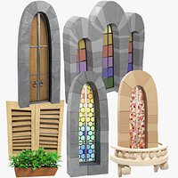 Stylized Medieval Windows and Door Collection V1