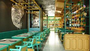 cafe restaurant interior 3D model