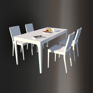 White Laminate Dining Table 3D model