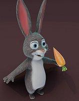 Cartoon Rabbit Animated 3D Model